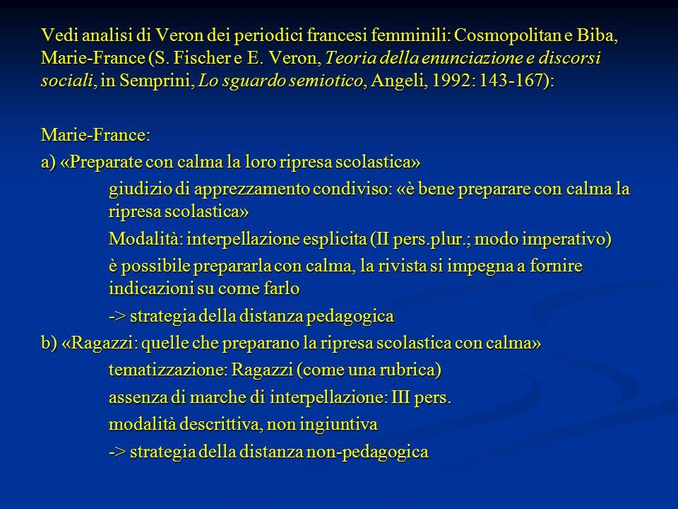 Vedi analisi di Veron dei periodici francesi femminili: Cosmopolitan e Biba, Marie-France (S.