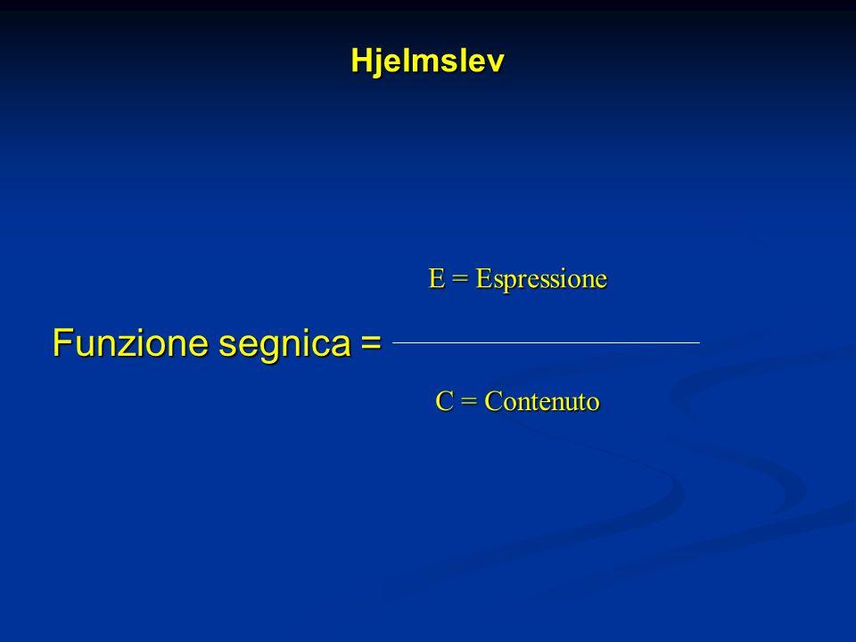 Hjelmslev Funzione segnica = E = Espressione C = Contenuto