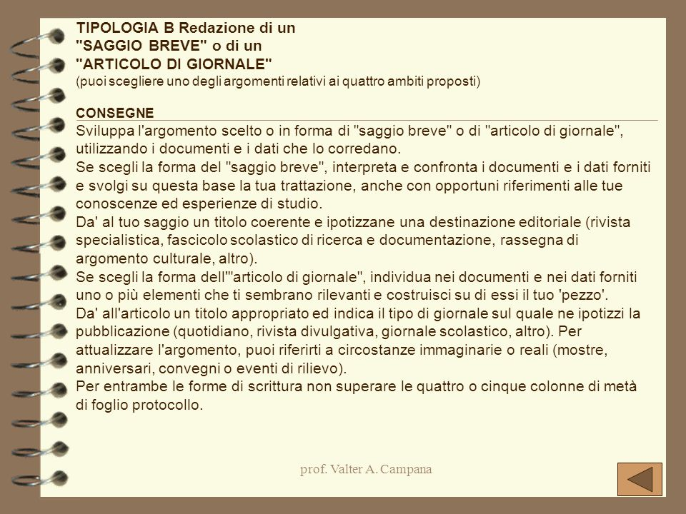TIPOLOGIA B Redazione di un SAGGIO BREVE o di un ARTICOLO DI GIORNALE