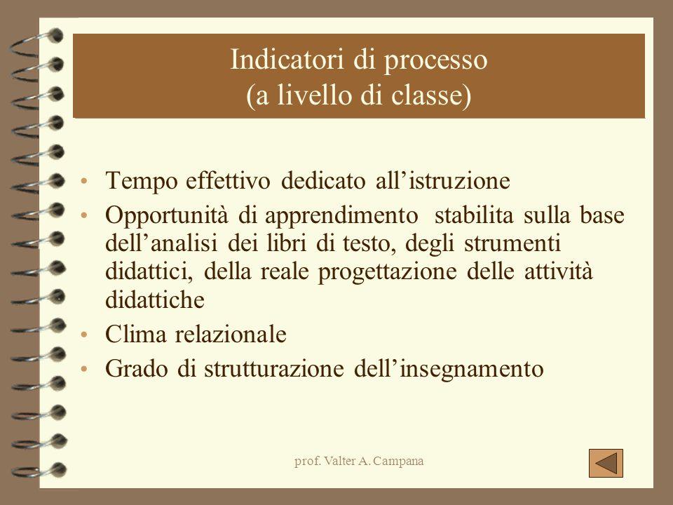 Indicatori di processo (a livello di classe)