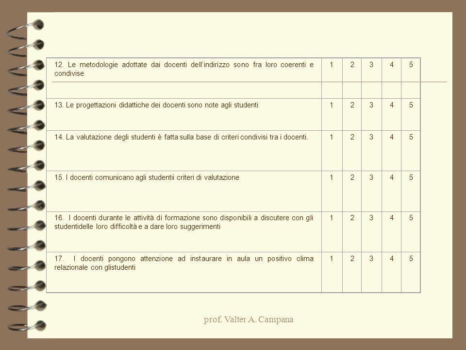 12. Le metodologie adottate dai docenti dell'indirizzo sono fra loro coerenti e condivise.