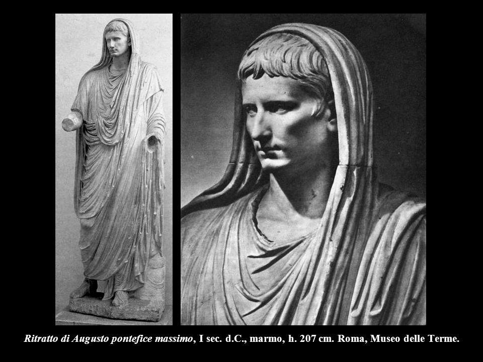 Ritratto di Augusto pontefice massimo, I sec. d. C. , marmo, h. 207 cm