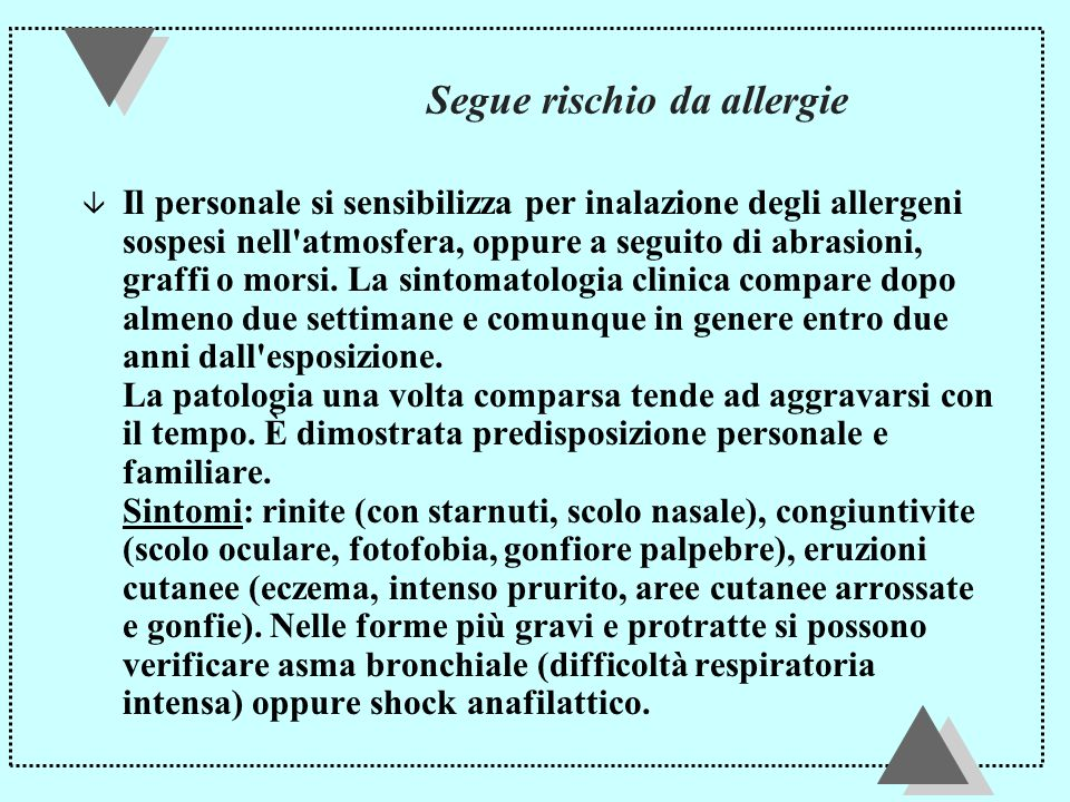 Segue rischio da allergie