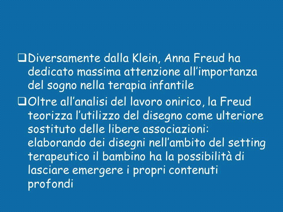 Diversamente dalla Klein, Anna Freud ha dedicato massima attenzione all'importanza del sogno nella terapia infantile