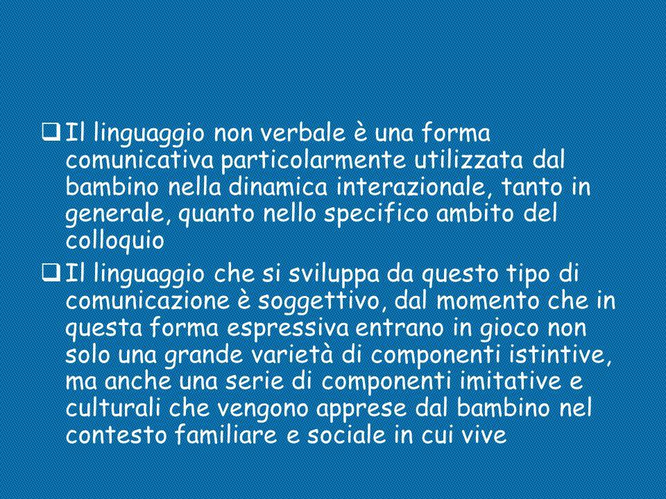 Il linguaggio non verbale è una forma comunicativa particolarmente utilizzata dal bambino nella dinamica interazionale, tanto in generale, quanto nello specifico ambito del colloquio