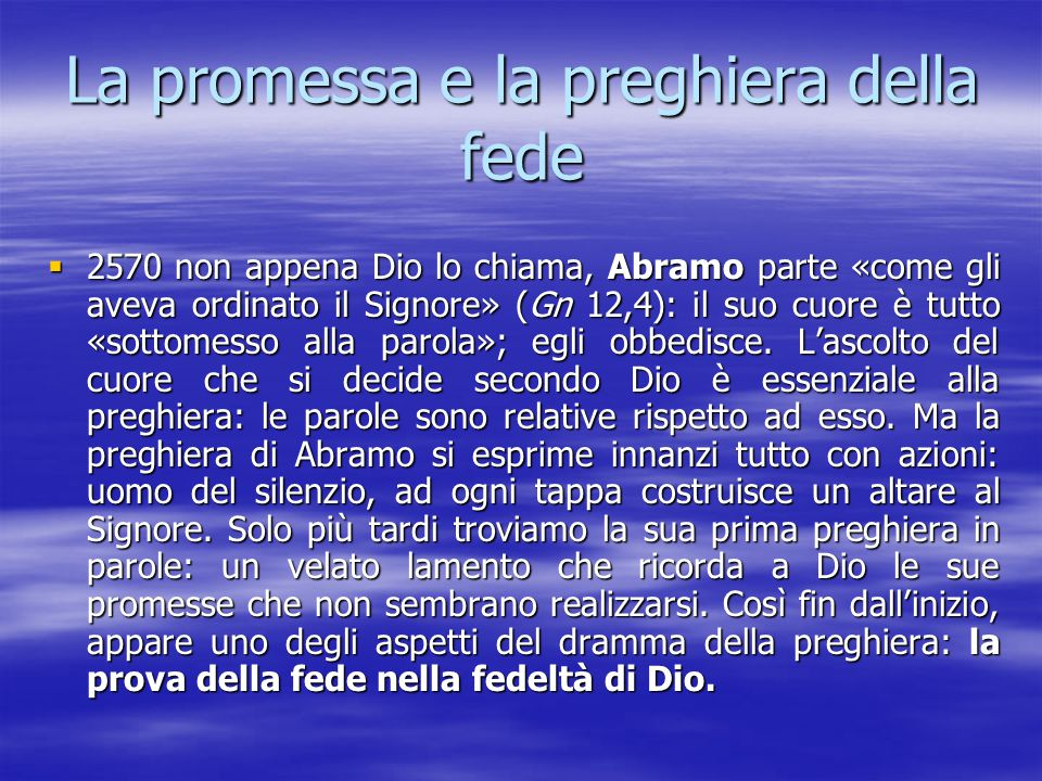 La promessa e la preghiera della fede