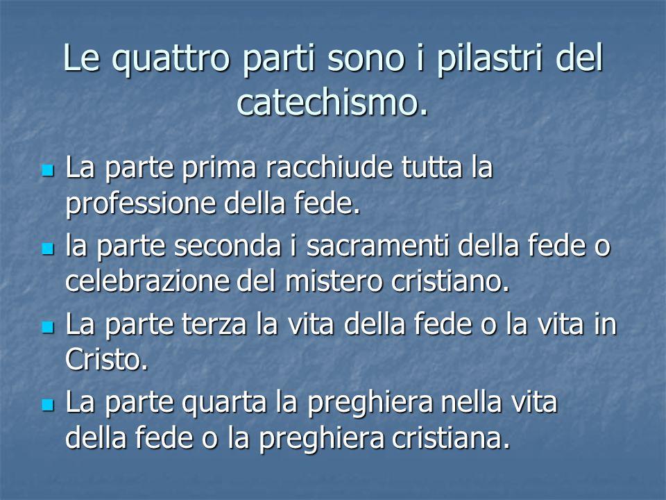 Le quattro parti sono i pilastri del catechismo.