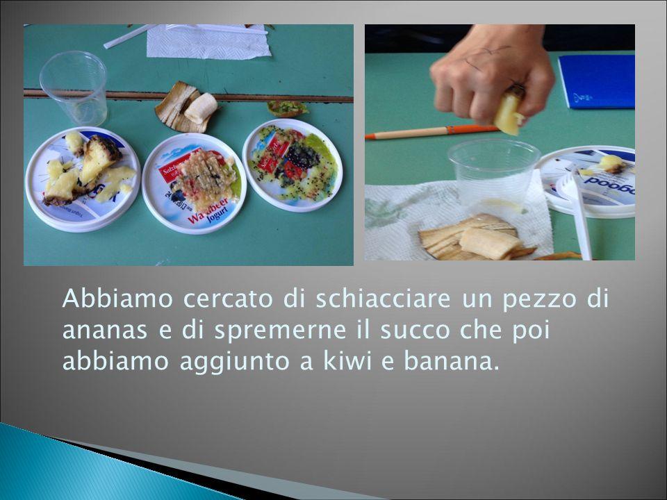 Abbiamo cercato di schiacciare un pezzo di ananas e di spremerne il succo che poi abbiamo aggiunto a kiwi e banana.