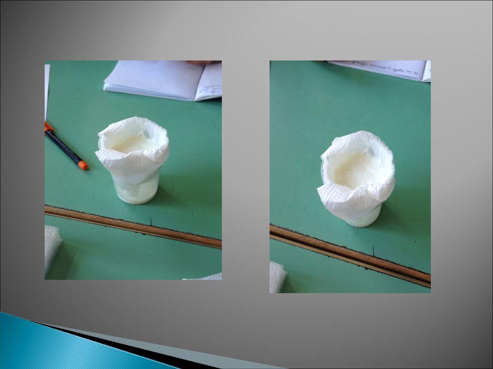 Abbiamo aggiunto il latte con il caglio in un bicchiere di plastica e dentro esso abbiamo inserito un vasetto che usano i pastori per fare il formaggio e intorno ad esso abbiamo messo della carta . Abbiamo filtrato il formaggio nel vasetto