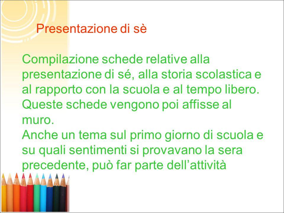 Presentazione di sè Compilazione schede relative alla presentazione di sé, alla storia scolastica e al rapporto con la scuola e al tempo libero.