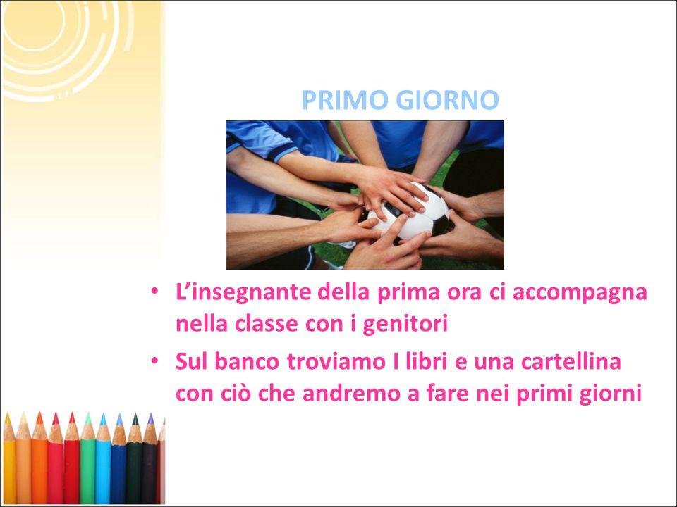 PRIMO GIORNO L'insegnante della prima ora ci accompagna nella classe con i genitori.