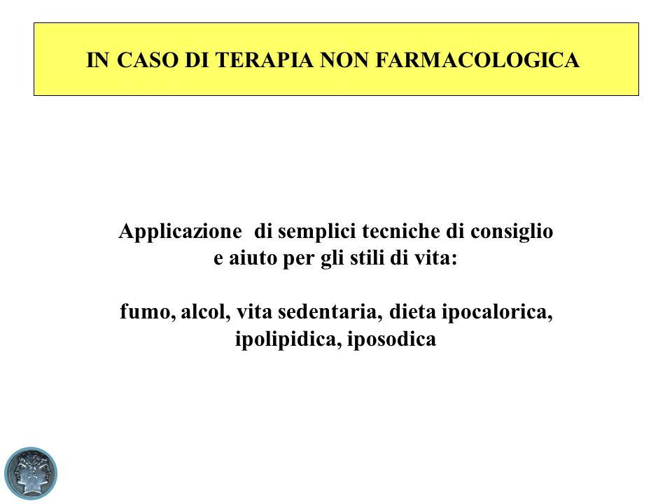 IN CASO DI TERAPIA NON FARMACOLOGICA