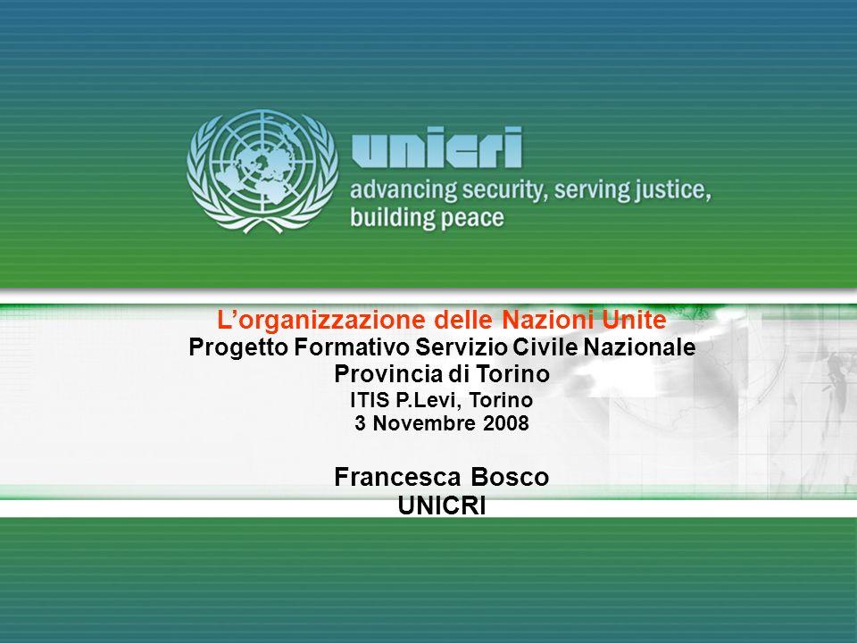 L'organizzazione delle Nazioni Unite Francesca Bosco UNICRI