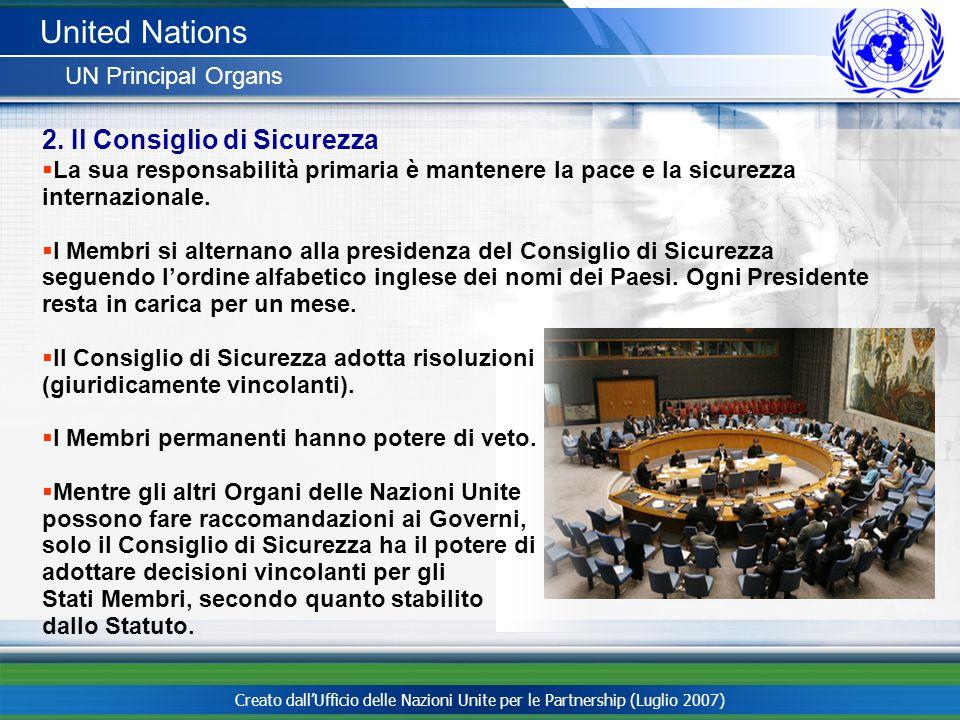 United Nations 2. Il Consiglio di Sicurezza UN Principal Organs