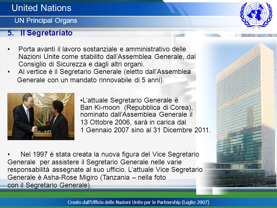 United Nations Il Segretariato UN Principal Organs