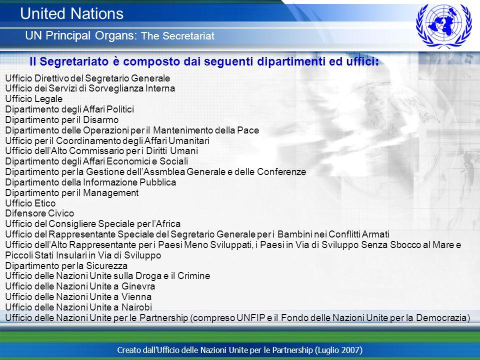United Nations UN Principal Organs: The Secretariat