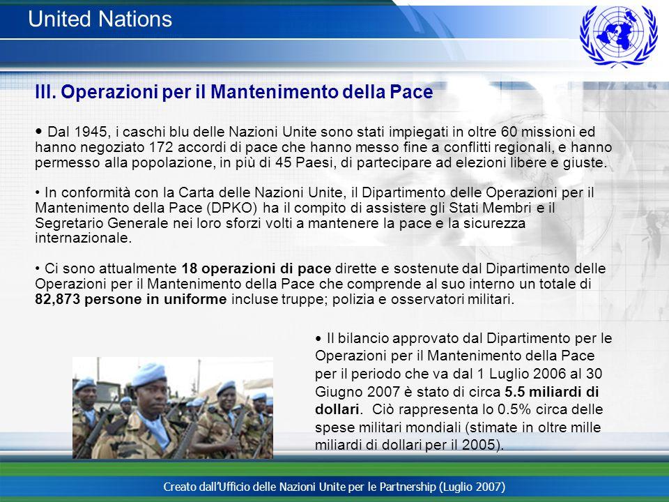 United Nations III. Operazioni per il Mantenimento della Pace