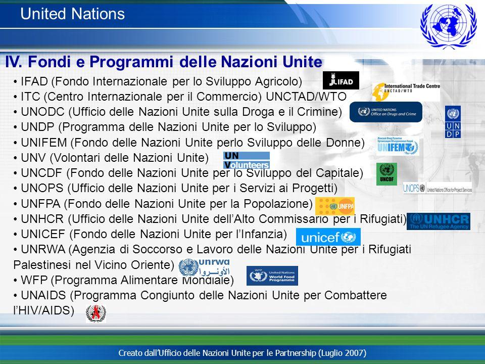 IV. Fondi e Programmi delle Nazioni Unite