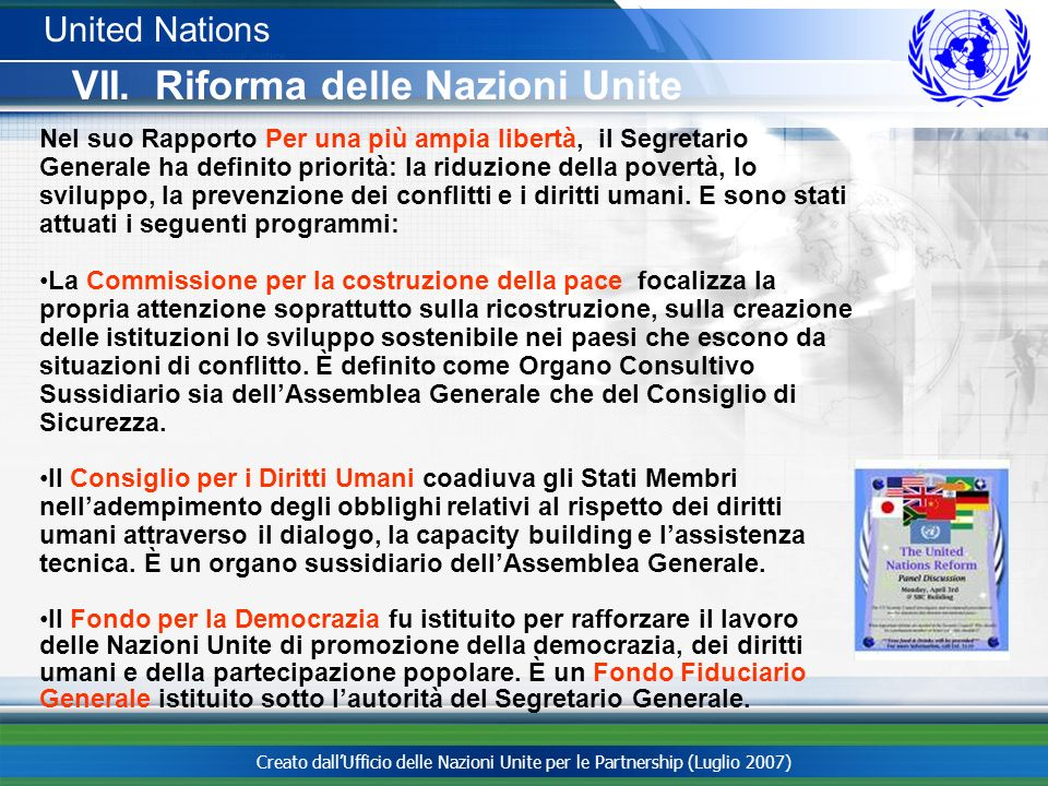 VII. Riforma delle Nazioni Unite
