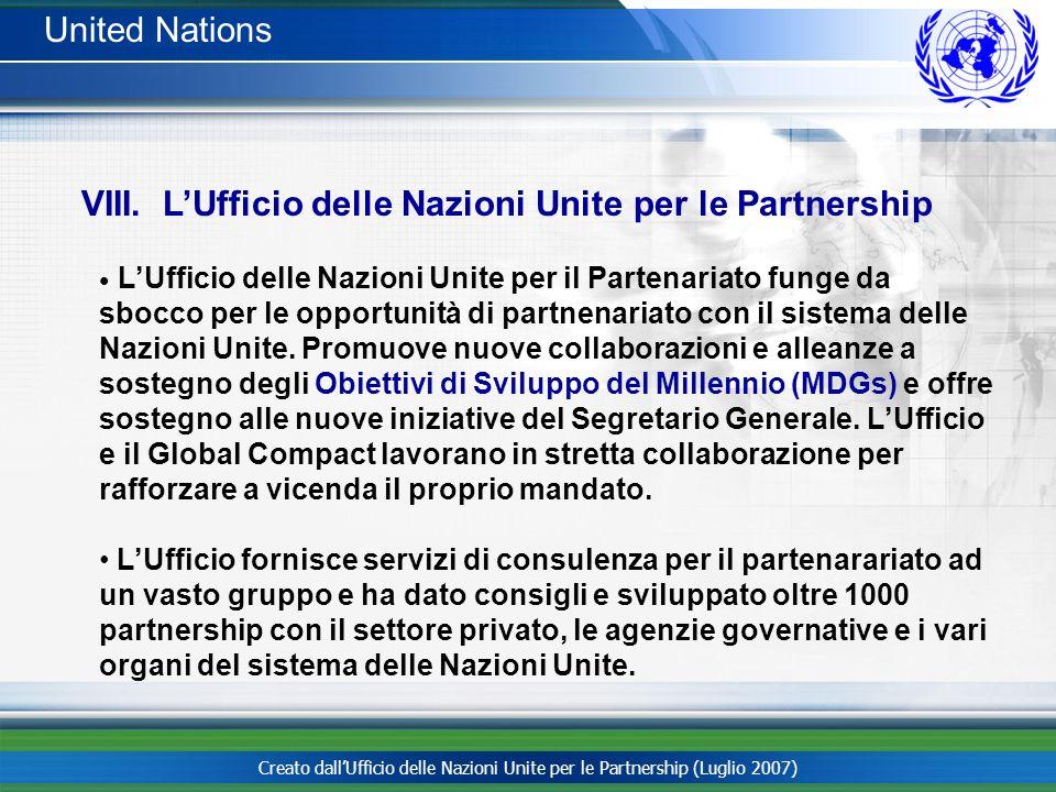 VIII. L'Ufficio delle Nazioni Unite per le Partnership
