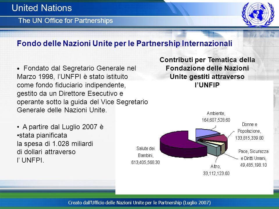 United Nations The UN Office for Partnerships. Fondo delle Nazioni Unite per le Partnership Internazionali.