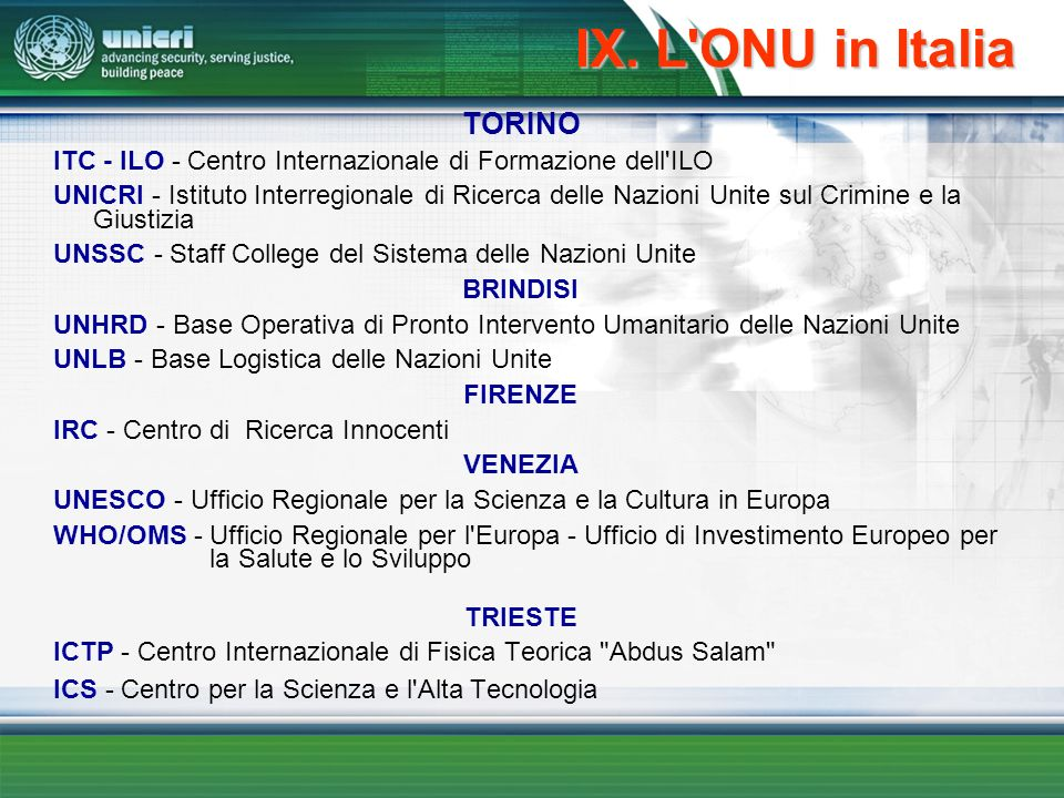 IX. L ONU in Italia TORINO