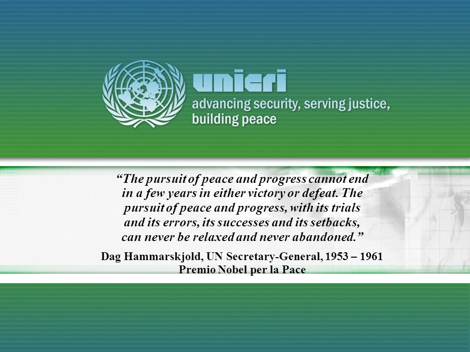 The pursuit of peace and progress cannot end