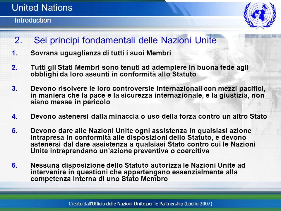 Sei principi fondamentali delle Nazioni Unite