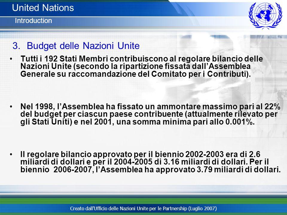 Budget delle Nazioni Unite