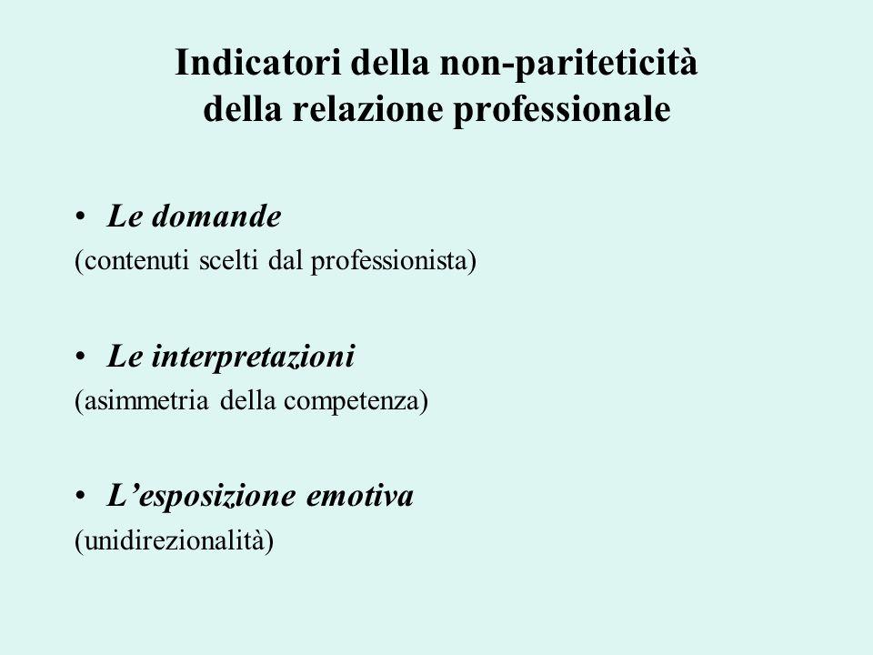Indicatori della non-pariteticità della relazione professionale