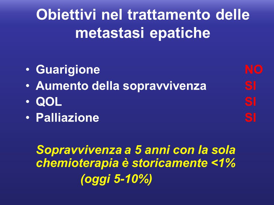 Obiettivi nel trattamento delle metastasi epatiche