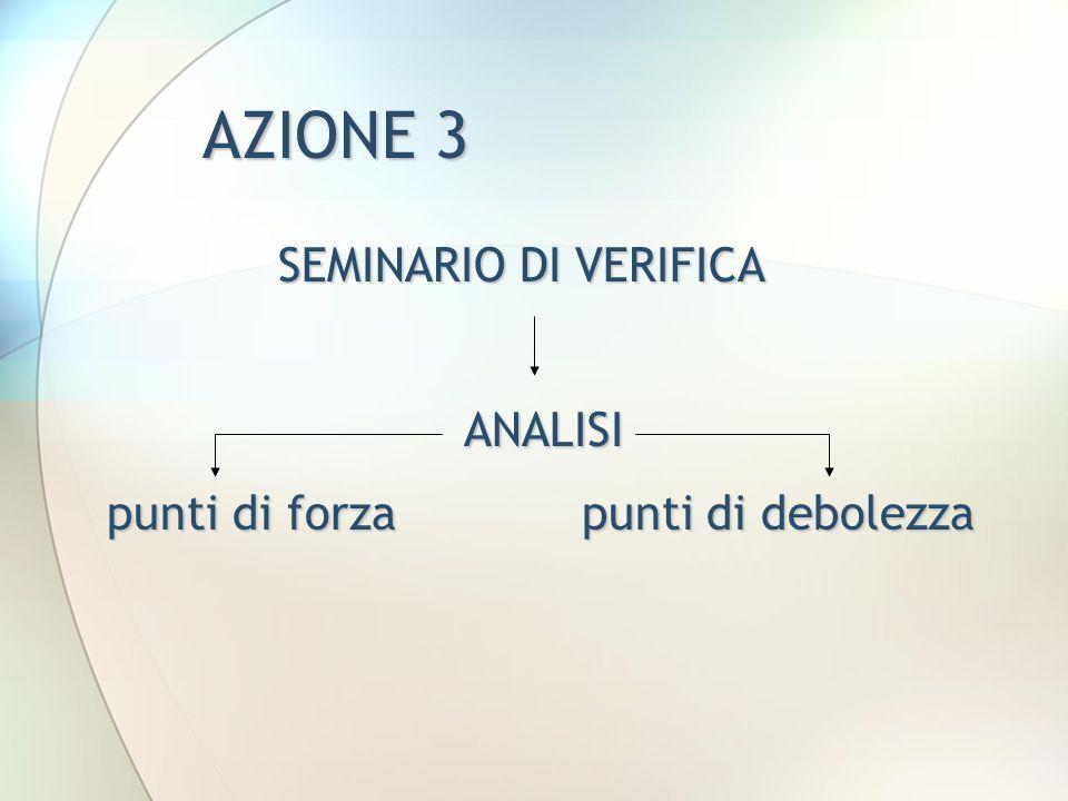 AZIONE 3 SEMINARIO DI VERIFICA ANALISI