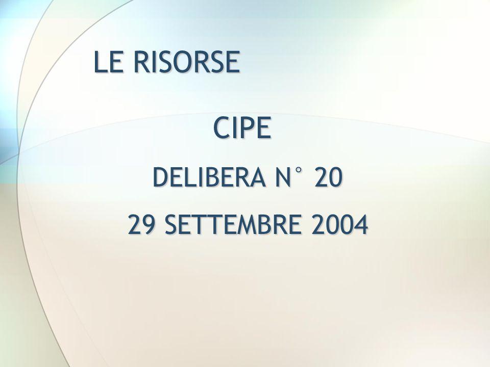 LE RISORSE CIPE DELIBERA N° 20 29 SETTEMBRE 2004