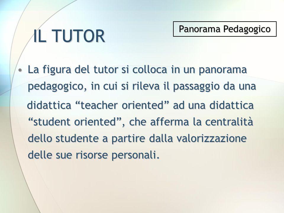 IL TUTOR Panorama Pedagogico. La figura del tutor si colloca in un panorama pedagogico, in cui si rileva il passaggio da una.
