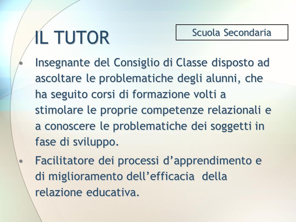 IL TUTOR Scuola Secondaria.