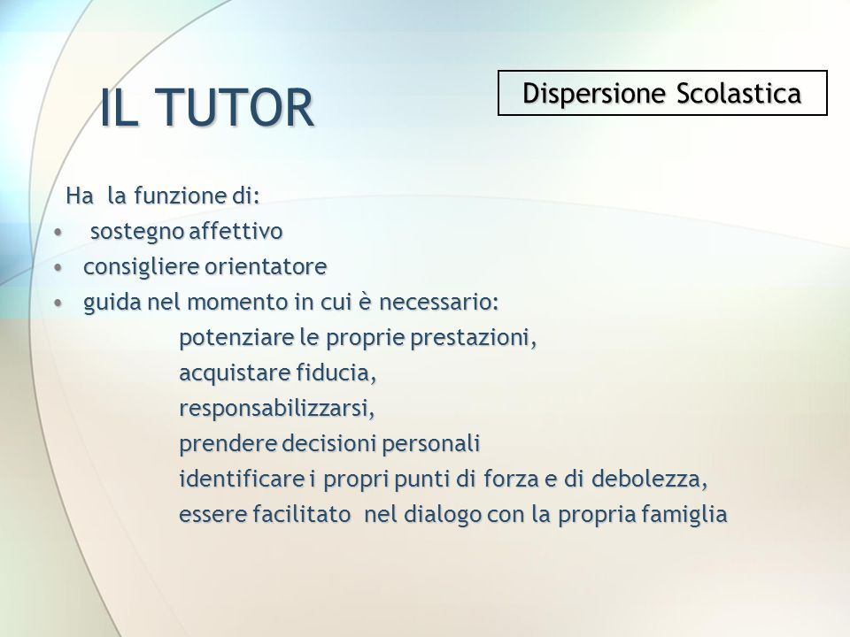Dispersione Scolastica