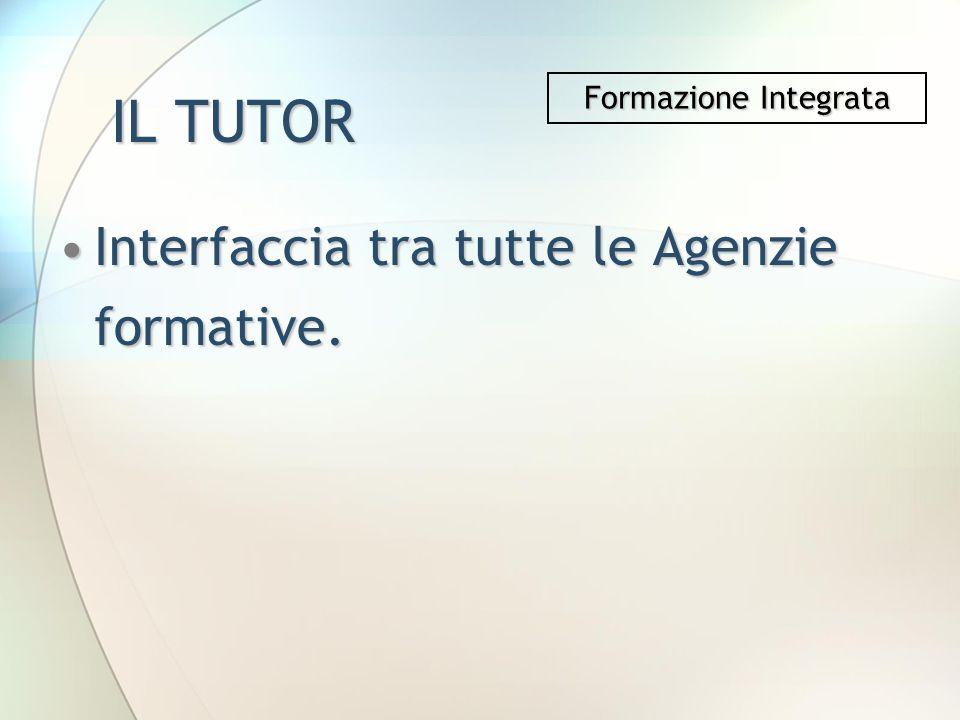 IL TUTOR Interfaccia tra tutte le Agenzie formative.