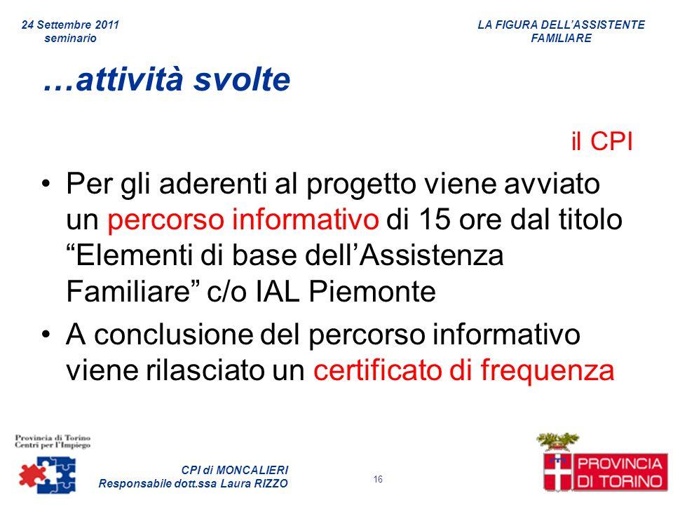 24 Settembre 2011 seminario. …attività svolte. il CPI.
