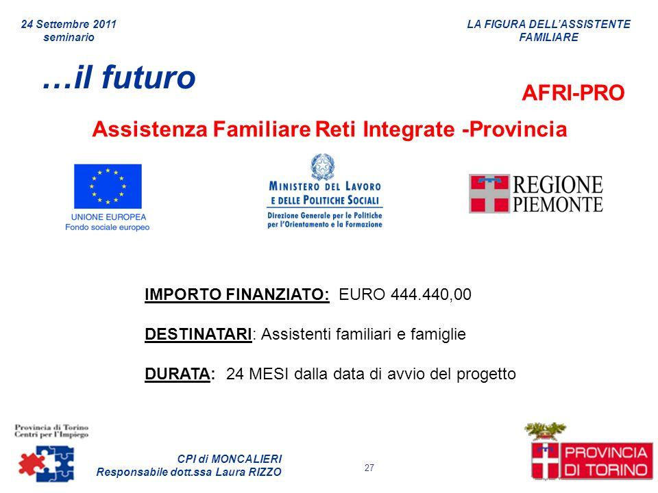 …il futuro AFRI-PRO Assistenza Familiare Reti Integrate -Provincia