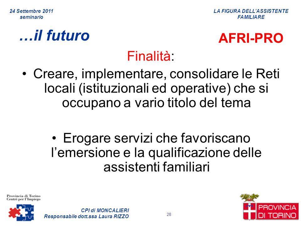 …il futuro AFRI-PRO Finalità: