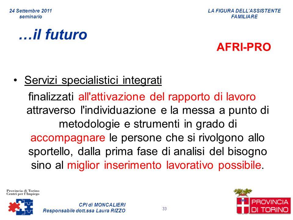 …il futuro AFRI-PRO Servizi specialistici integrati