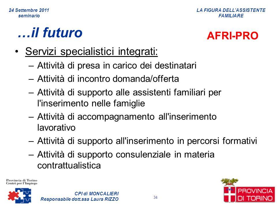 …il futuro AFRI-PRO Servizi specialistici integrati: