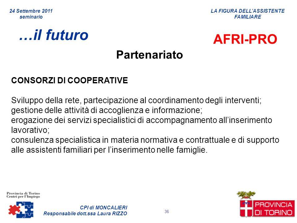 …il futuro AFRI-PRO Partenariato CONSORZI DI COOPERATIVE