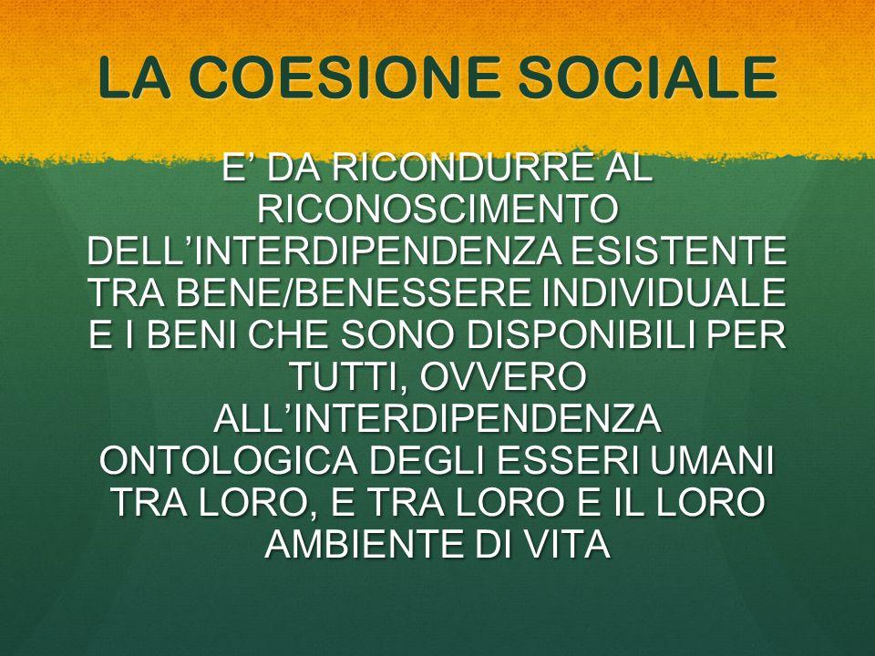 LA COESIONE SOCIALE