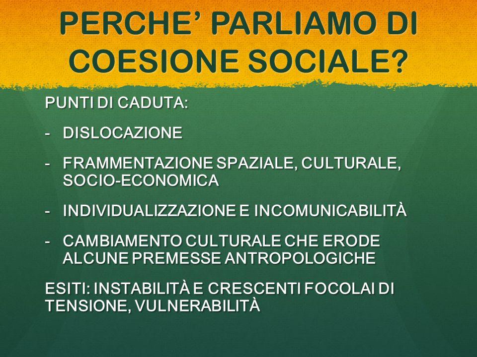PERCHE' PARLIAMO DI COESIONE SOCIALE