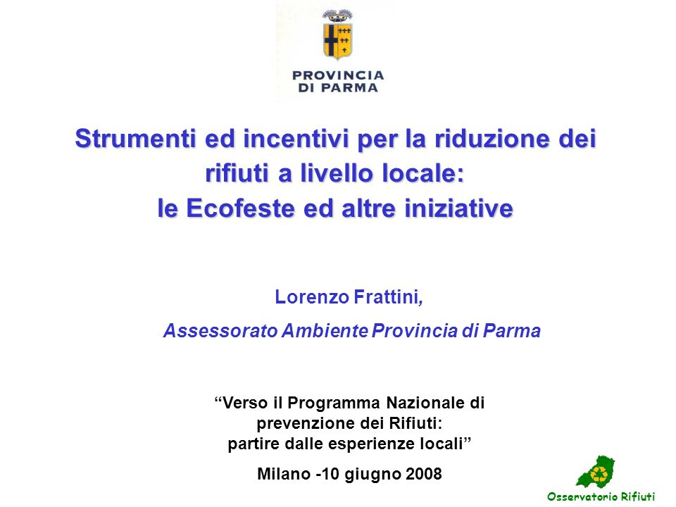 Assessorato Ambiente Provincia di Parma