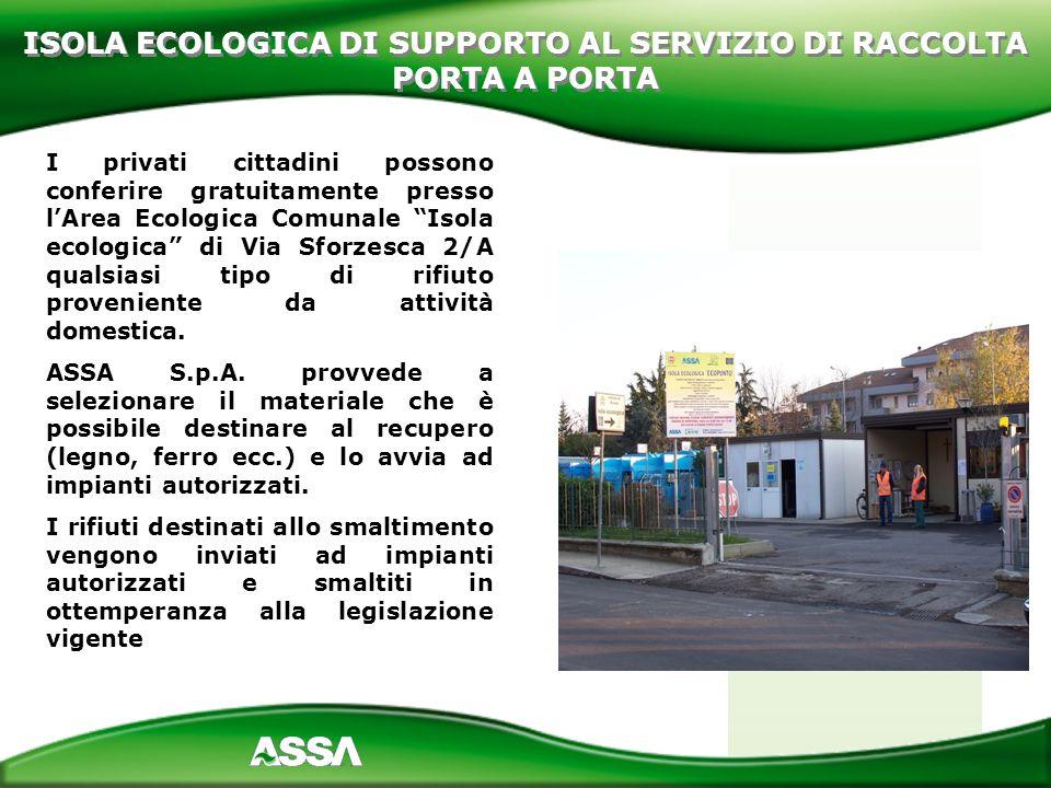 ISOLA ECOLOGICA DI SUPPORTO AL SERVIZIO DI RACCOLTA PORTA A PORTA
