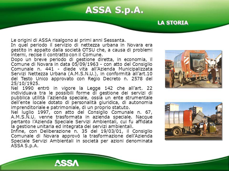 ASSA S.p.A. LA STORIA. Le origini di ASSA risalgono ai primi anni Sessanta.