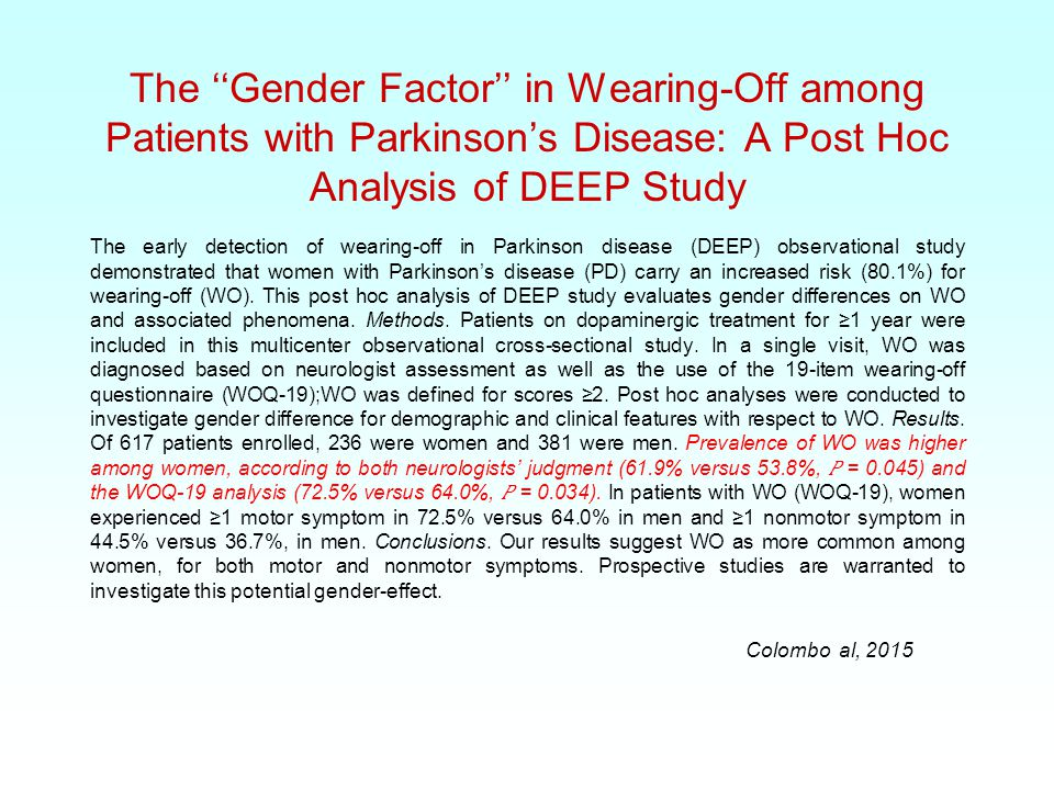 The ''Gender Factor'' in Wearing-Off among Patients with Parkinson's Disease: A Post Hoc Analysis of DEEP Study