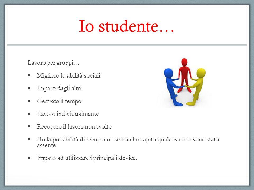 Io studente… Lavoro per gruppi… Miglioro le abilità sociali